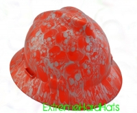 Extreme Hardhats Orange Silver Skulls Cool  Hard Hat