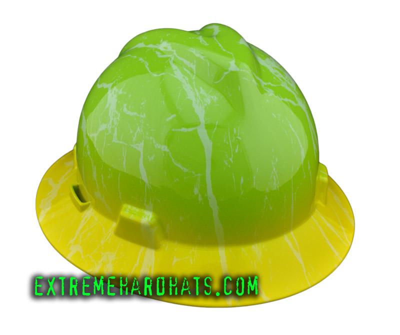 84346ed7b71392 Marble Lime Green & Yellow Black Hard Hat Oilfield Construction