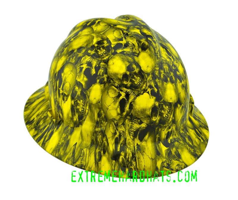 Yellow Cool Custom Skulls Hard Hat Msa